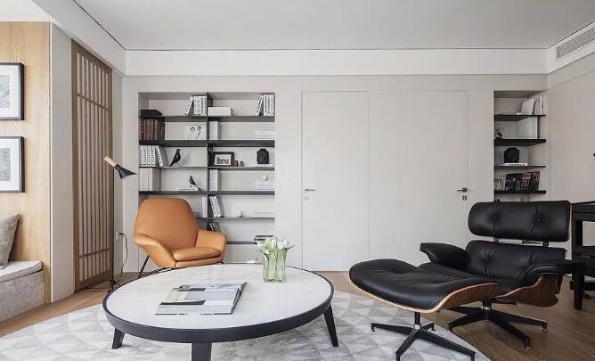现代简约风格装修效果图,百叶窗和胡桃木家具美观又实用