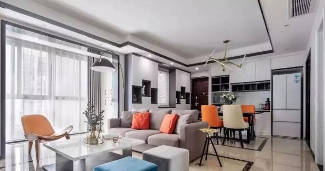 现代简约风格装修案例,打通阳台扩大客厅宽敞又时尚