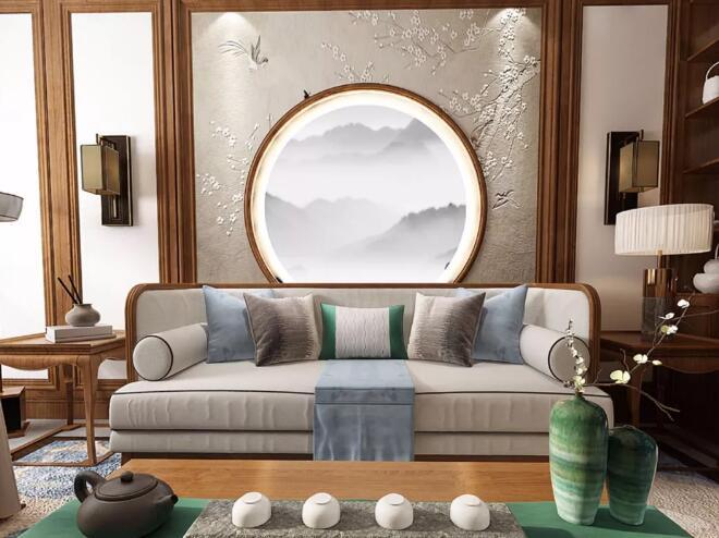 新中式风格装修效果图,房间每一处设计都充满韵味