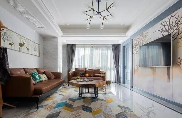 北欧风格新房装修案例,全屋瓷砖配挂画等装饰效果还不错