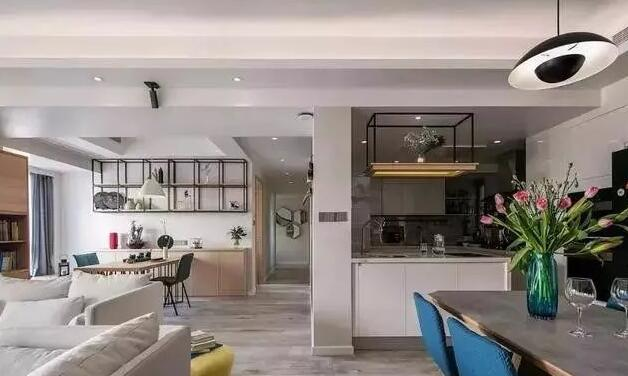 145平米简约风格装修效果图,开放式厨房设计宽敞又明亮