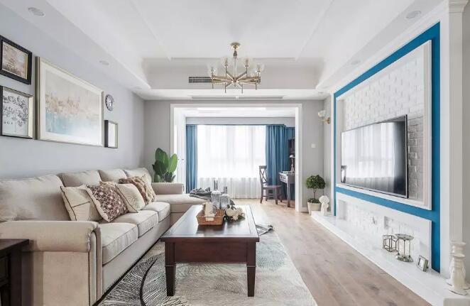 美式风格新房装修效果图,电视墙白色文化砖搭配蓝色很亮眼