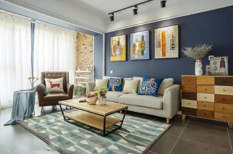 简约风格装修效果图,厨房彩色拼接图案瓷砖个性十足