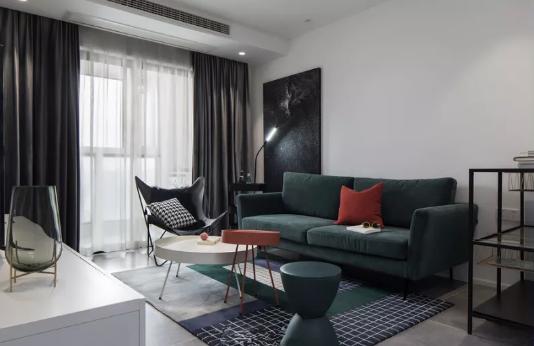 北欧风格新房装修效果图,灰白和墨绿搭配舒适软装效果不错