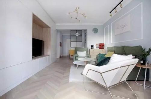 两室两厅北欧风格装修效果图,厨房浅蓝橱柜配花砖效果不错