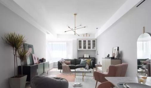 110平米北欧风格装修效果图,简约灰搭配粉色打造舒适的家