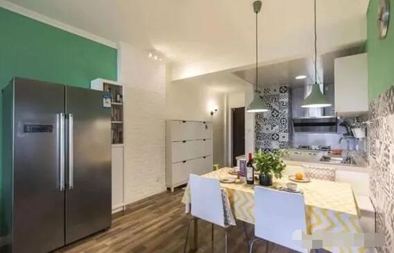 110平米北欧风格新房装修效果图,室内绿色和花砖搭配非常个性